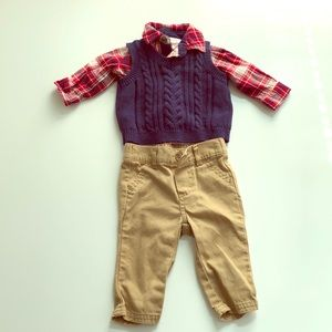 Baby plaid dress shirt with sweater vest and pants